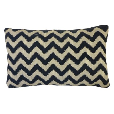 Bright and Fresh Zig Zag Cotton Lumbar Pillow Color: Navy