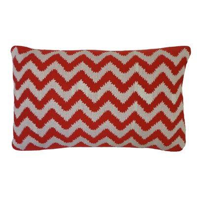 Bright and Fresh Zig Zag Cotton Lumbar Pillow Color: Red
