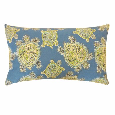 Turtle Cotton Lumbar Pillow Color: Blue