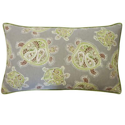 Turtle Cotton Lumbar Pillow Color: Green