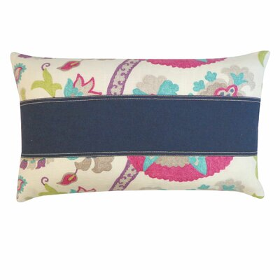 Amapola Cotton Lumbar Pillow Color: Purple