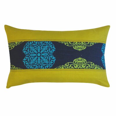 Medallion Cotton Lumbar Pillow Size: 12 H x 26 W, Color: Blue