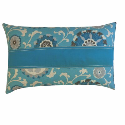 Rose Cotton Lumbar Pillow Color: Blue