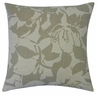 Peony Cotton Throw Pillow Color: Grey