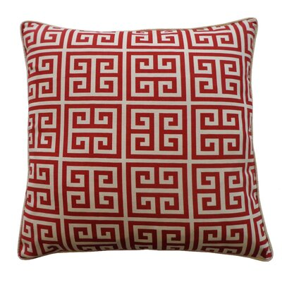 Riddle Cotton Throw Pillow Color: Red