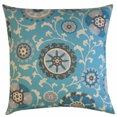 Rose Cotton Throw Pillow Color: Blue