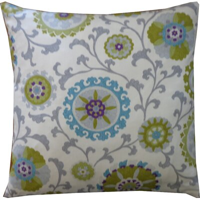 Rose Cotton Throw Pillow Color: Green