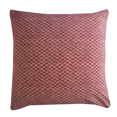 Kioto Fan Cotton Throw Pillow Color: Red