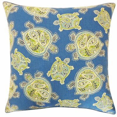 Turtle Cotton Throw Pillow Color: Blue