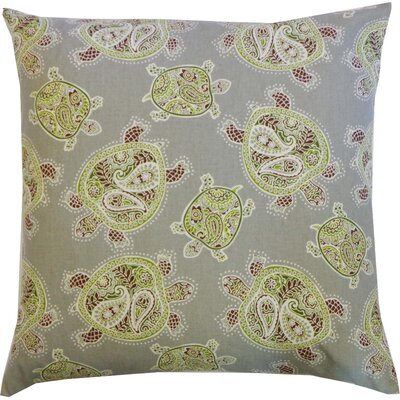 Turtle Cotton Throw Pillow Color: Green