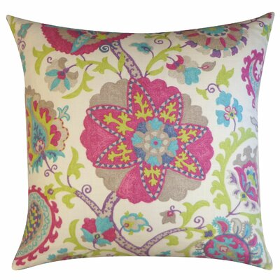 Amapola Cotton Throw Pillow Size: 26 H x 26 W, Color: Purple