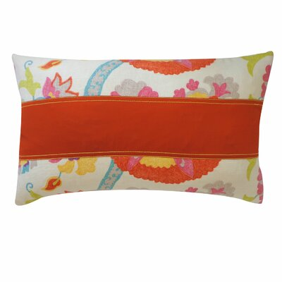 Amapola Cotton Lumbar Pillow Color: Red
