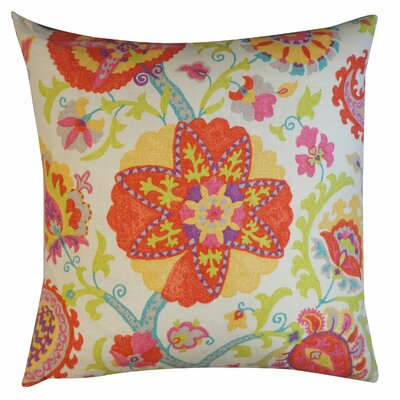 Amapola Cotton Throw Pillow Size: 26 H x 26 W, Color: Red