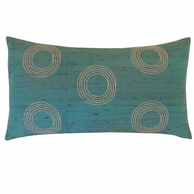 Center Silk Lumbar Pillow Color: Teal