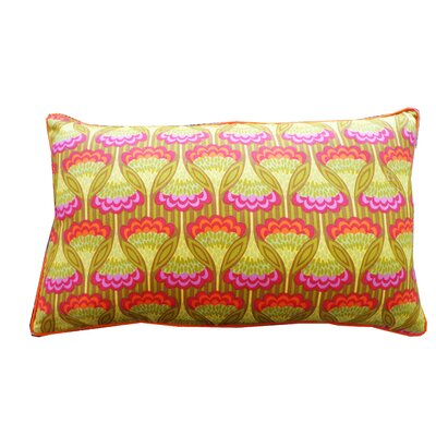 Fan Cotton Lumbar Pillow Color: Yellow