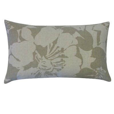 Peony Cotton Lumbar Pillow Color: Grey
