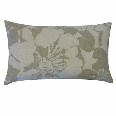 Peony Cotton Lumbar Pillow Color: Grey