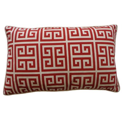 Riddle Cotton Lumbar Pillow Color: Red