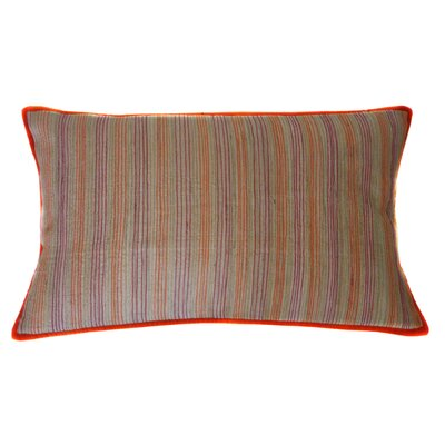 Desi Stripe Hand Block Printed Embroidered Linen Lumbar Pillow
