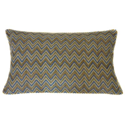 Zigs Hand Block Printed Embroidered Linen Lumbar Pillow