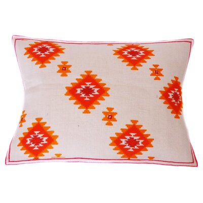 Kora Jute Hand Block Printed Embroidered Linen Lumbar Pillow