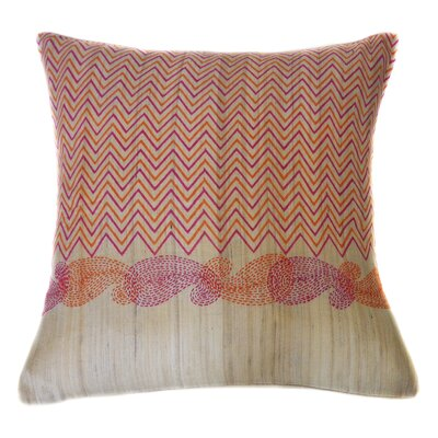 Debra Hand Block Printed Embroidered Linen Throw Pillow