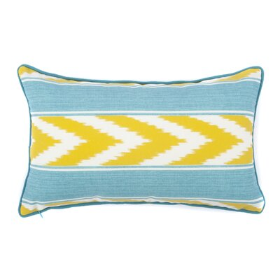 Ikat Stripe Outdoor Lumbar Pillow Color: Green