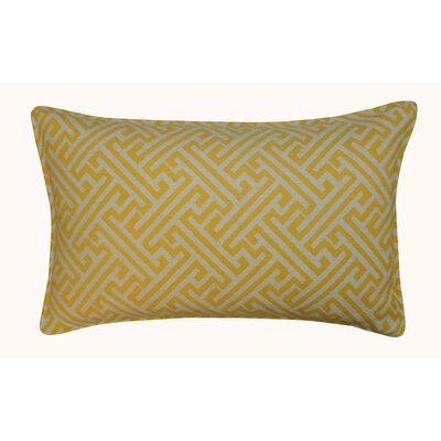 Wave Maze Outdoor Lumbar Pillow Color: Yellow