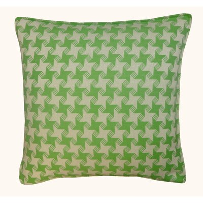 Houndstooth Outdoor Throw Pillow Color: Green