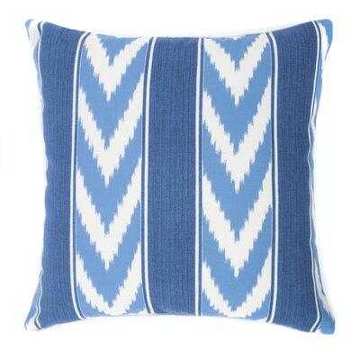 Ikat Stripe Outdoor Throw Pillow Color: Blue