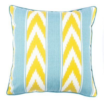 Ikat Stripe Outdoor Throw Pillow Color: Green