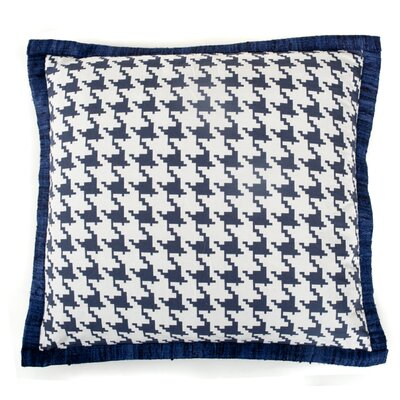 Houndstooth Cotton Throw Pillow Color: Blue
