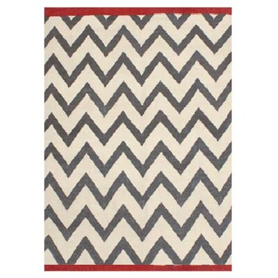 Zig Zag Grey/White Outdoor Area Rug