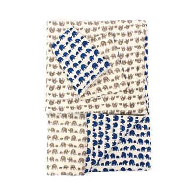 2 Piece Reversible Quilt Set Color: Blue/Gray