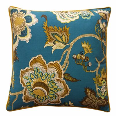 Jazmine Linen Throw Pillow Color: Jade, Size: 24 x 24