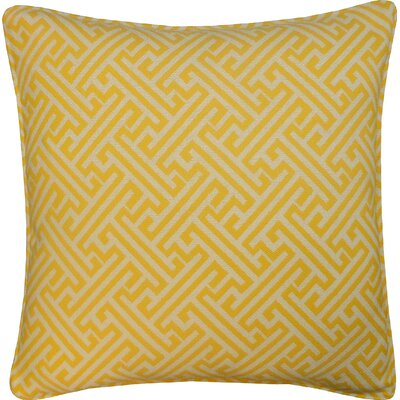 Wave Maze Outdoor Throw Pillow Color: Yellow