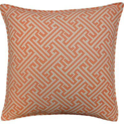 Wave Maze Outdoor Throw Pillow Color: Orange