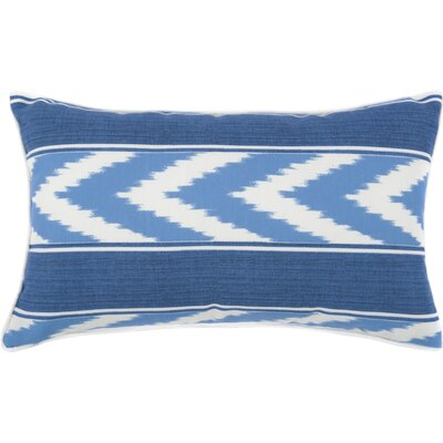 Ikat Stripe Outdoor Lumbar Pillow Color: Blue