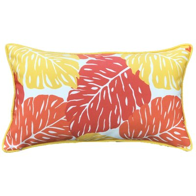 Idella Leaves Outdoor Lumbar Pillow Color: Orange/Yellow
