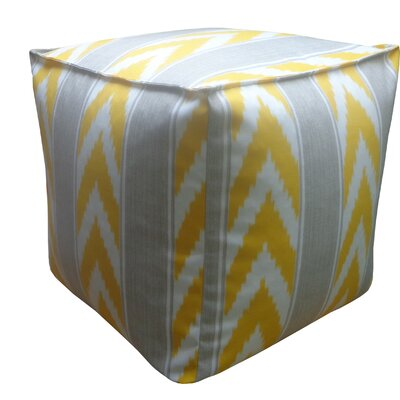 Ikat Stripe Outdoor Pouf Upholstery: Yellow