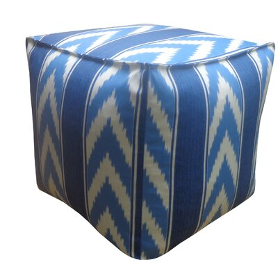 Ikat Stripe Outdoor Pouf Upholstery: Blue