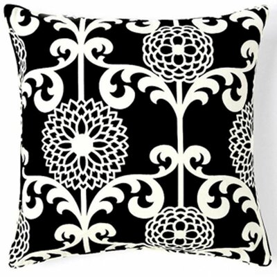 Floret Silk Throw Pillow Color: Black