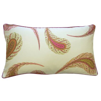 Peacock Cotton Lumbar Pillow Color: Cream