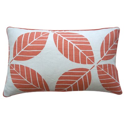 Tiki Leaves Linen Lumbar Pillow Color: Coral