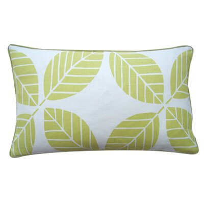 Tiki Leaves Linen Lumbar Pillow Color: Lemon