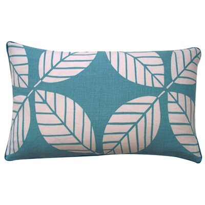 Tiki Leaves Linen Lumbar Pillow Color: Teal