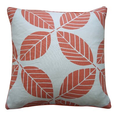 Tiki Leaves Linen Throw Pillow Color: Coral