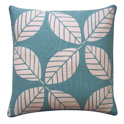 Tiki Leaves Linen Throw Pillow Color: Teal