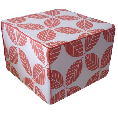 Tiki Leaves Ottoman Color: Coral