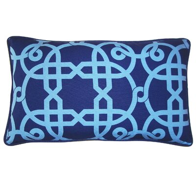 Web Cotton Lumbar Pillow Color: Blue